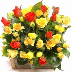 send mixed roses in basket to mysore