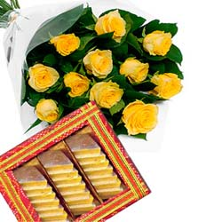 send yellow roses and sweets to mysore