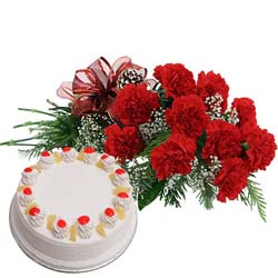 send carnation with cake to mysore