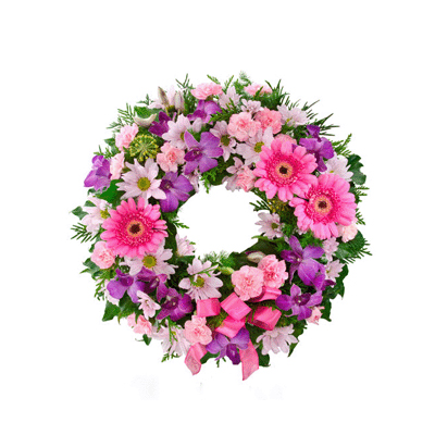 send Baby pink wreath to mysore