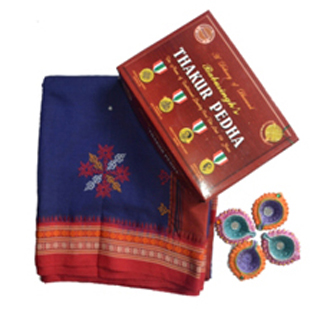 Poly cotton blue and red with kasuti saree 1