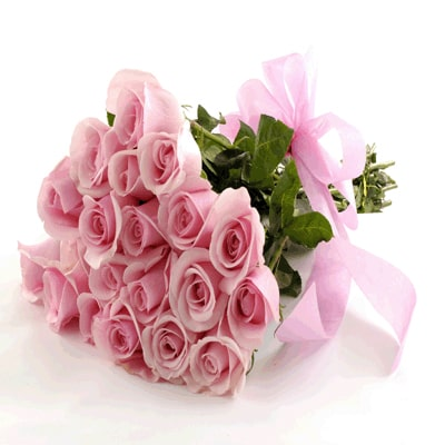Bunch of 40 pink roses elegantly wrapped in A cellophine