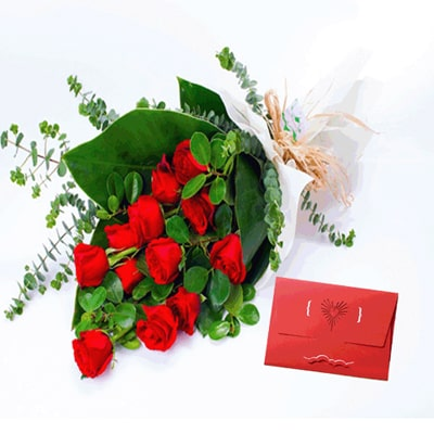 Bunch of 20 Red Roses & Valentine Card