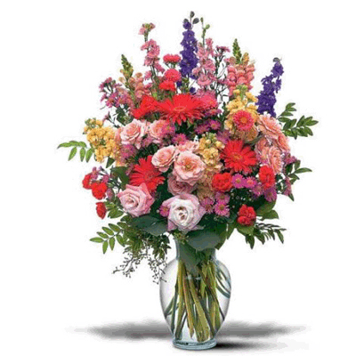 15 assorted flowers in a vase