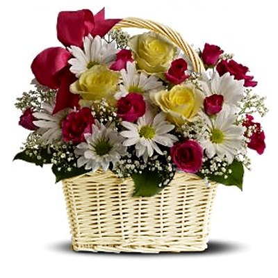 Send Basket of mixed flowers arrangements to mysore