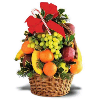send Fresh Fruits in a cane basket to mysore
