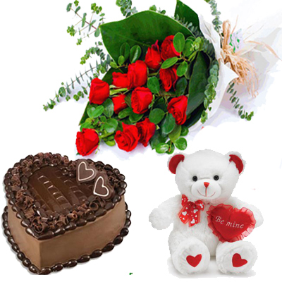 roses, cake and teddy to Mysore